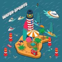watersport isometrische mensen samenstelling vector