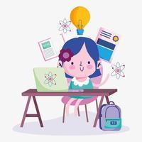 onderwijs online, schattig meisje student aan bureau met laptop vector