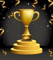 award viering ontwerp met gouden beker vector