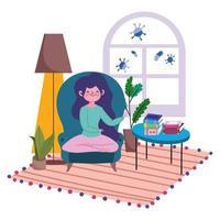jonge vrouw op stoel binnenshuis beschermd tegen covid-19