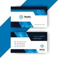 blauwe en zwarte geometrische bedrijfskaartsjabloon