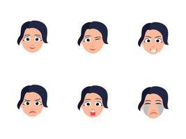 schattig jong meisje met verschillende gezichtsuitdrukkingen