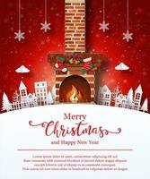 Kerstaffichemalplaatje met open haard
