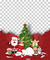 kerstaffichemalplaatje met santa en vrienden