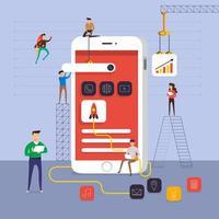 team dat werkt aan het bouwen van applicaties op mobiel vector