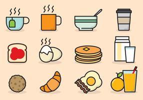 Leuke Ontbijt Icons vector