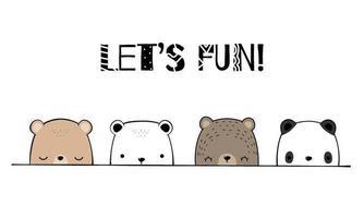 schattige beer familie cartoon doodle behang