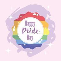 gelukkige trotsdag, regenboogbadge voor lgbt-gemeenschapsviering vector