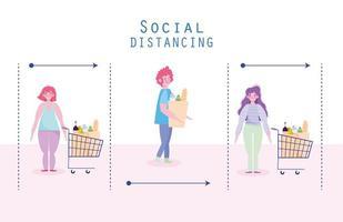 covid-19 preventie, mensen supermarkt sociaal distantiëren ontwerp