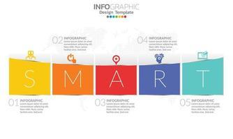 tijdlijn infographic sjabloon met 5 elementen