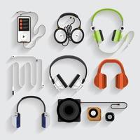 grafische koptelefoon, luidspreker, mp3-spelerset vector