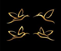 gouden lijntekeningen kolibrie symboolset vector