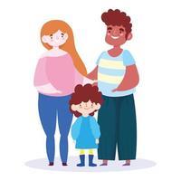 moeder, vader en zoon voor familiedagviering