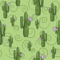 groen naadloos patroon met saguaro cactussen in bloei