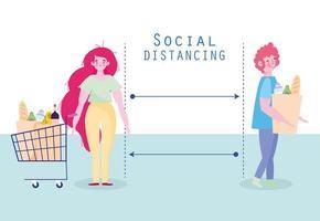 covid-19 sociaal afstandsontwerp met mensen in de winkel