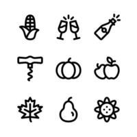 Thanksgiving-lijnpictogrammen inclusief maïs, drank en meer