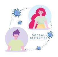 covid-19 sociaal afstandelijk jong stel ontwerp