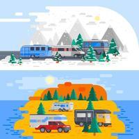 cartoon rvs en campers buitenshuis vector