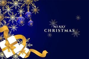 blauw en goud sneeuwvlok en cadeau Kerstsjabloon