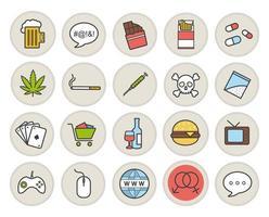 verslavingen en slechte gewoonten gekleurde pictogrammen instellen