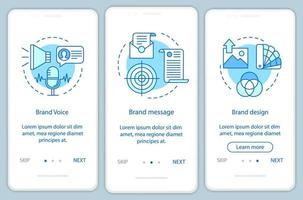 merkelementen voor onboarding van mobiele app-pagina's vector
