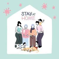 familieleden blijven thuis na een coronavirus-pandemie