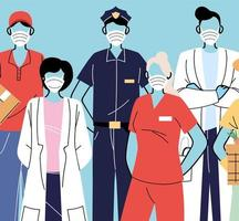 verschillende beroepen met mensen die gezichtsmaskers dragen