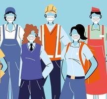 verschillende beroepen met mensen die gezichtsmaskers dragen vector