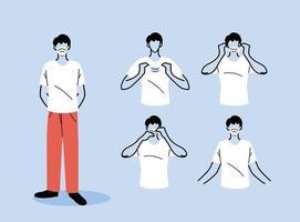 hoe u een masker correct draagt vector