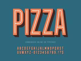 retro gecondenseerd inline 3D-lettertype vector