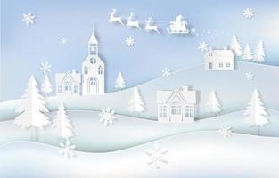 kerstseizoen papier kunst landschapsontwerp vector