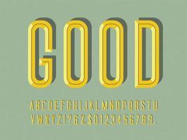 gecondenseerd afgeschuind 3D-display lettertype vector