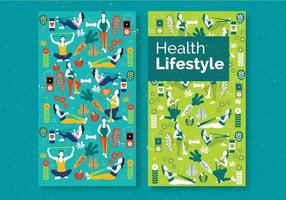gezondheid levensstijl flyer set vector