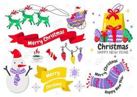 cartoon stijl kerst element en embleem set