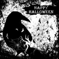 raaf en kale boomtakken halloween grunge ontwerp vector