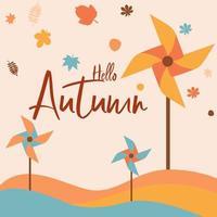 hallo herfstlandschap met kleurrijke pinwheels