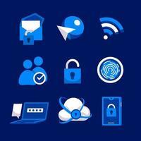 pictogram voor het controleren van de privacy van cyberbeveiliging vector