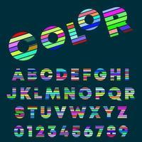 Alfabetletters en cijfers kleurontwerp vector