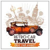 retro auto voor reizen en toerisme vector