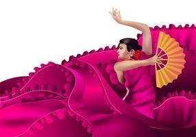 Bold Pink Spanish Dancer met Fan Vector