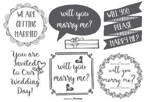 Leuke Marry Me Hand Drawn Lables vector
