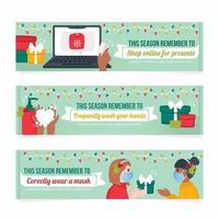 nieuwe banner set voor normale feestdagen vector