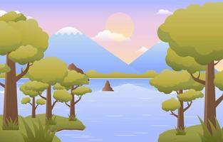 landschap van rivieroever met bomen en bergen