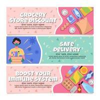 veilige contactloze bezorging van kruidenierswaren en medicijnen vector