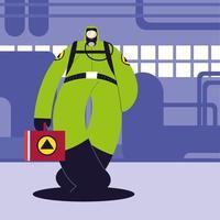 man in beschermend pak, chemische industrie