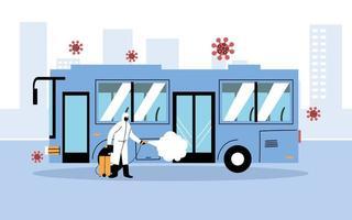 man met een beschermend pak desinfecteert bus vector