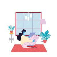 freelancer vrouw werkt op afstand vanuit haar huis vector