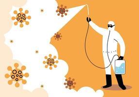 man draagt beschermend pak, desinfectie door coronavirus vector