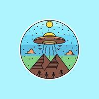 ufo circulaire lijntekeningen vector