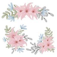 set handgeschilderde aquarel bloemen boeketten